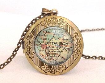 PITTSBURGH US Vintage Map Locket, Photo Locket, Necklace, Women, Anniversary, Valentin Day