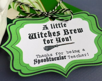 Halloween Teacher Gift Tag - Coffee Gift Tag - Instant Download