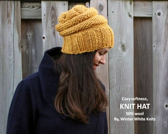 Knit hat, knitted beanie hat, mustard yellow hat, chunky knit hat, winter hat, winter toque, ski hat, slouchy knit hat, adult size knit hat