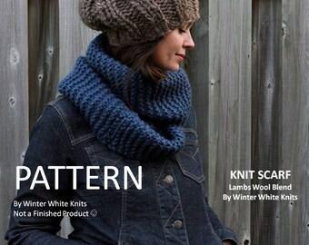 KNITTING PATTERN - knit scarf, PDF Instant Download Knitting Pattern, hand knit scarf pattern, knitted scarf pattern, a tutorial,