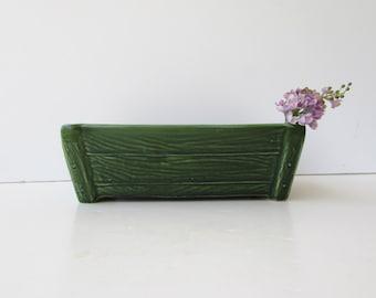 Brush McCoy  Planter - Faux Wood Pattern - Forest Green Glaze -