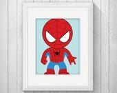 Super Hero Print - Spider Kid Print, Superhero Art, Kids Wall Art, Nursery Wall Art, Playroom Art, Instant Download, PRINTABLE 8x10