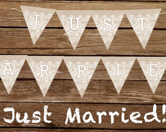 Just Married (Burlap and lace wedding) - Print At Home Wedding Banner