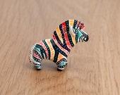 Lucky rainbow zebra animal totem, polymer clay OOAK animal figurine, lucky talisman, amulet