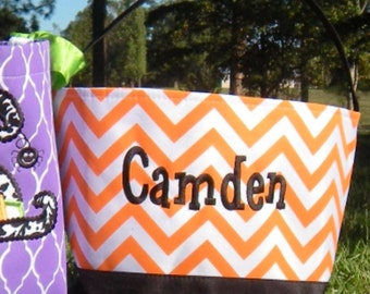 Personalized Halloween bucket with monogram or name candy bag