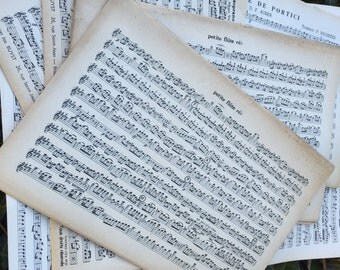 5 Double Sheets of Vintage Sheet Music Paper Approx 14 inches x 10.5 inches.