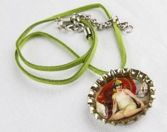 Vintage beach picture bottle cap necklace