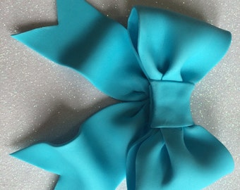Blue bow gum paste fondant for birthday cake