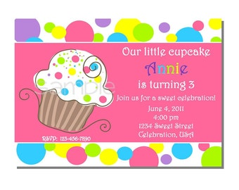 Cupcake Invitation Birthday Party - DIGITAL or PRINTED