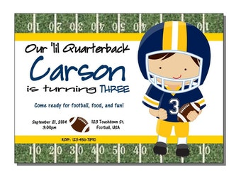 Football Invitation Birthday Party Blue and Yellow - DIGITAL or PRINTED