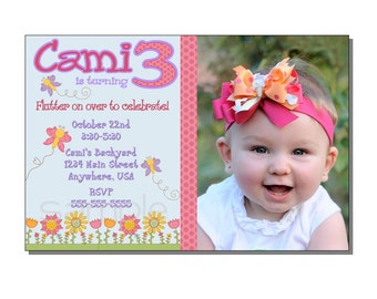 Butterfly Invitation Birthday Party - DIGITAL or PRINTED