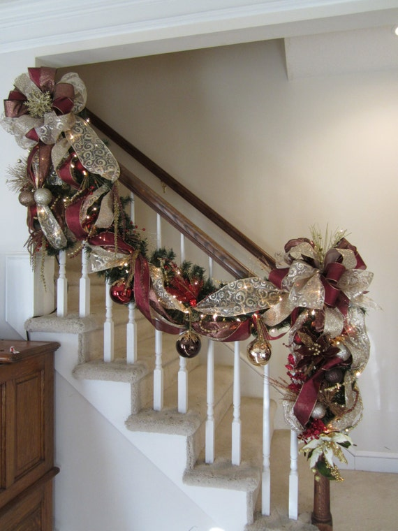 Christmas garland swag lighted staircase by for Elegant christmas decorations for sale