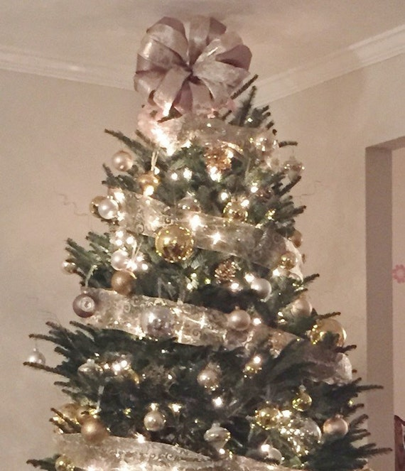 Christmas tree topper bow sale champagne white gold for White and gold tree decorations