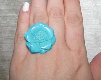 Aqua Flower Button Adjustable Ring