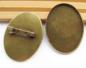 Antique Bronze/Silver tone Blank Brooch/Breastpin Charm,Base Setting Tray Bezel,fit 30mmx40mm Oval Cabochon,Clip Safety Pin/Brooch Backside