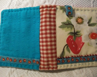 Cute Strawberry Needle Book Case, with pockets and accessories