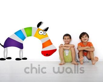 Colorful  Rainbow Zebra Funny Animal Removable Wall Decor Decal Sticker Vinyl Kids Color Nursery Room