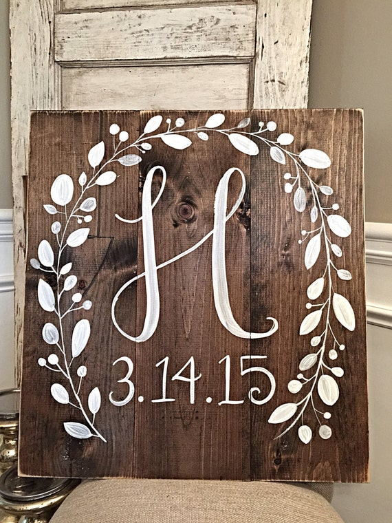 rustic home decor initial with wedding date