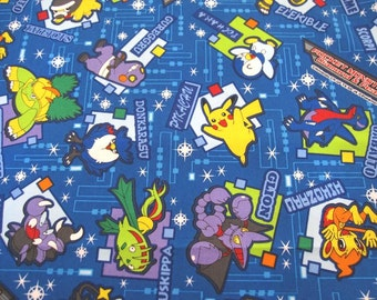 SALE-3 Colors-Fat Quarter of Pokemon Pocket Monster Nintendo fabric, Made in Japan.