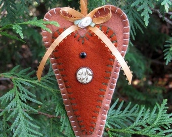 Cinnamon & Rust Wool Felt Heart Ornament