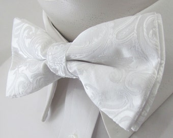 Mens Bowtie White Paisley PreTied Mans Bow Tie Pre tied