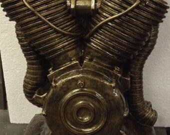Original stone art sculpture Knucklehead motorcycle engine replica, Handmade ,Man Cave,Decor, Gift, Harley Davidson, Chopper, Sculpture