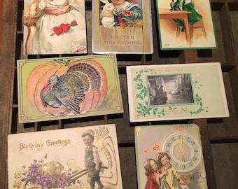 Set of 7 Vintage Holiday Postcards