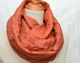 Linen Infinity Scarf. Chunky Scarf. Natural Linen. Terracotta. Rust.