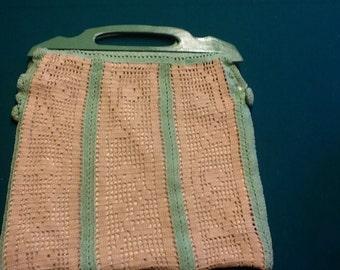 Handmade crocheted 50's handbag