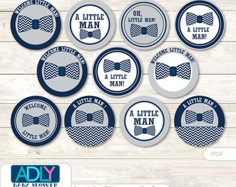 Lil Man  Bow Tie Cupcake Toppers for Baby Shower Printable DIY, favor tags, circles, It's a  Lil Man ,  Chevron  -  aa60bs 0