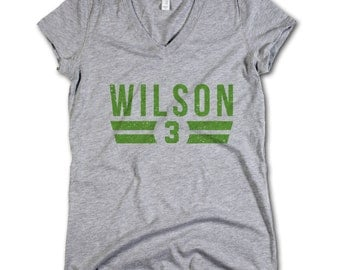 Russell Wilson NFLPA Officially Licensed Seattle Women's V-Neck S-2XL Russell Wilson Font G