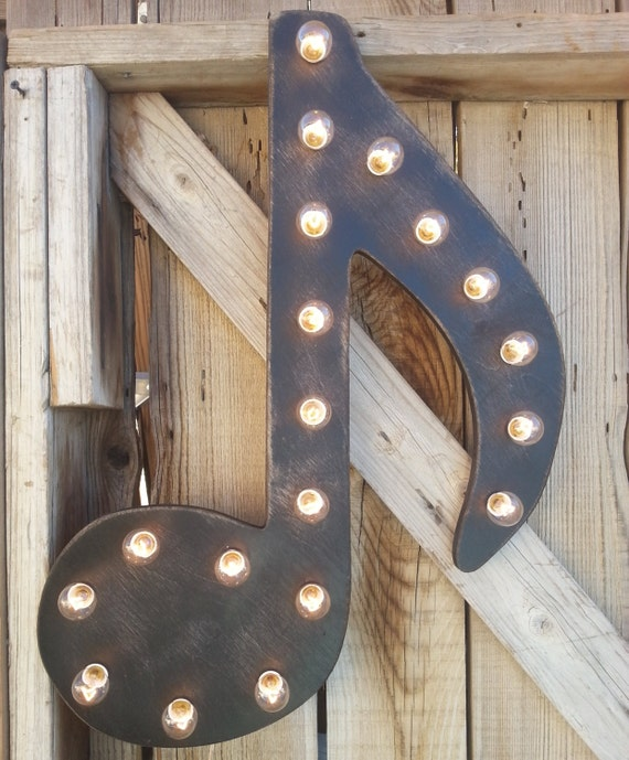 24 GIANT Music Note Lighted Marquee Wood Home Decor
