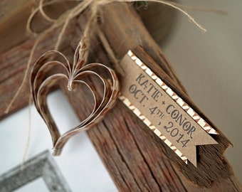 25 Barn Board/Chalkboard Tag Wedding Favor with Heart Accent & Personalized Message