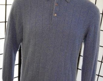 Tasso Elba men's blue cashmere polo sweater large l