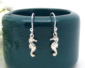 Seahorse Earrings, Sterling Silver Sea Horse Earrings, Nautical Silver Jewelry, Lightweight, Modern, Simple Petite Seahorse Dangle Earrings