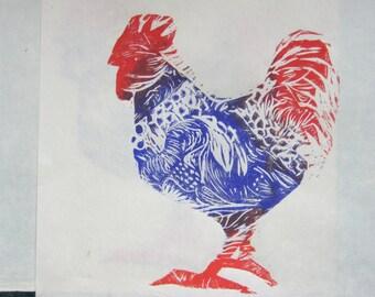 Rooster An original Linocut print