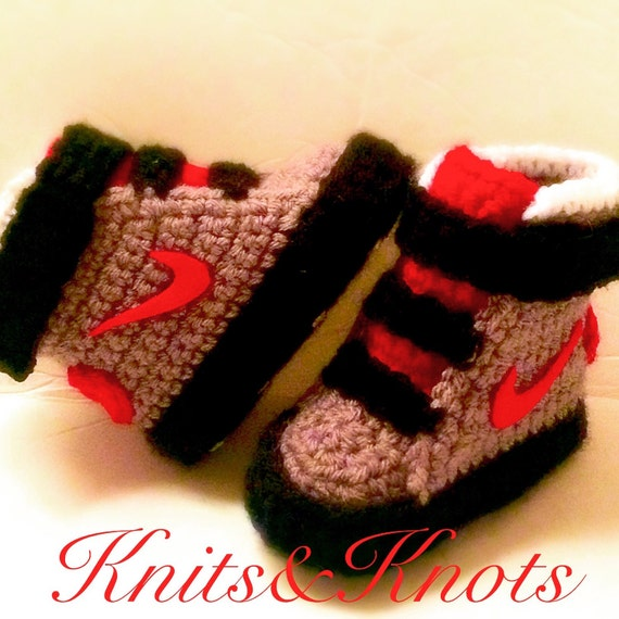 Crochet Patterns For Children s Shoes : Crochet Nike slippers shoes booties made to order any