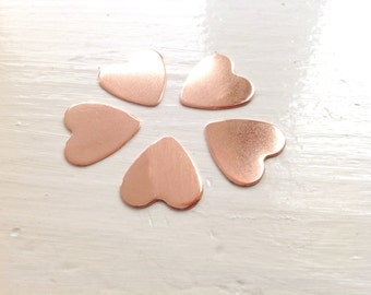 27mm UK made Copper metal hearts cut from 0.7mm (21 gauge) sheet for hand stamping.