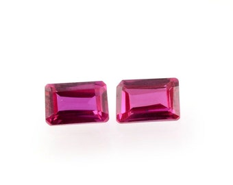 Ruby Synthetic Lab Created Set of 2 Loose Gemstones Octagon Cut 1A Quality 6x4mm TGW 1.30 cts.