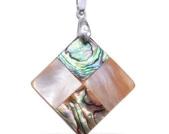 Mother of Pearl, Abalone Shell Sqyare Pendant without Chain in Silver-Tone