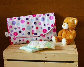 Diaper clutch - Buttons and polka dots