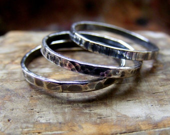 Rustic Silver stacking rings with texture , set of three
