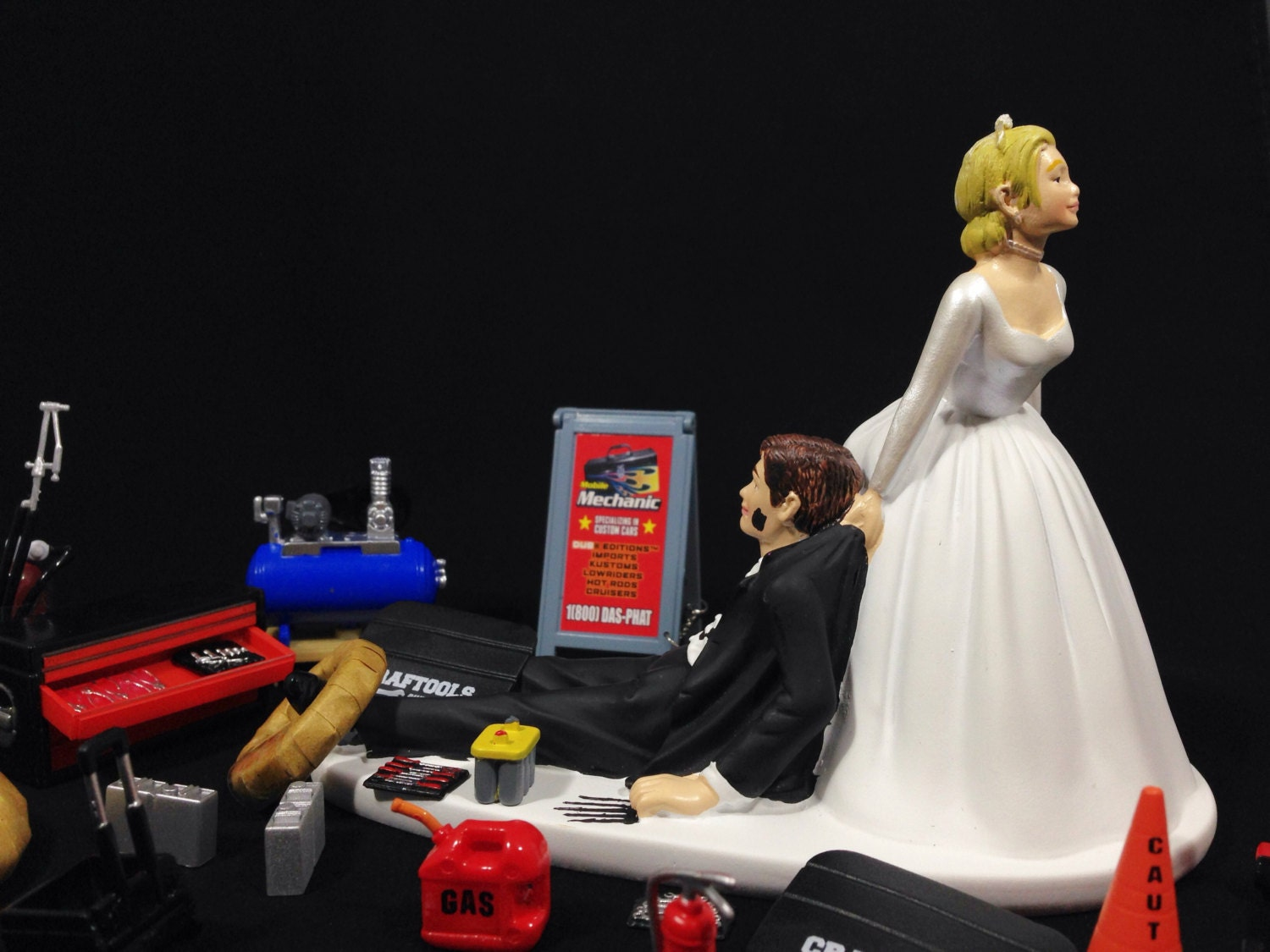 Funny Wedding Cake Topper With Auto Mechanic Tools Humorous