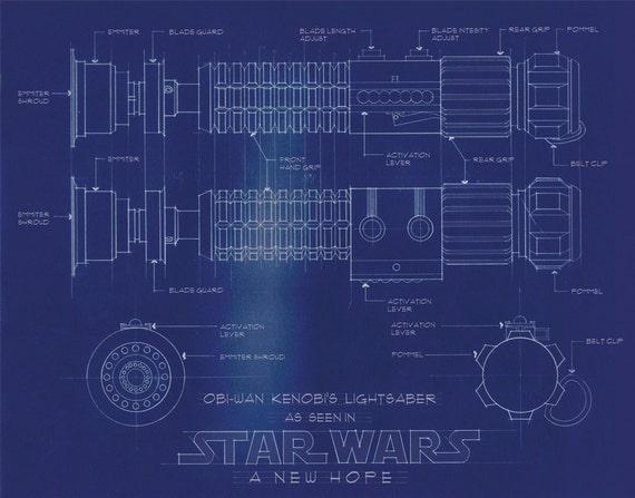 star wars poster blue print obi wan kenobi a new hope hand