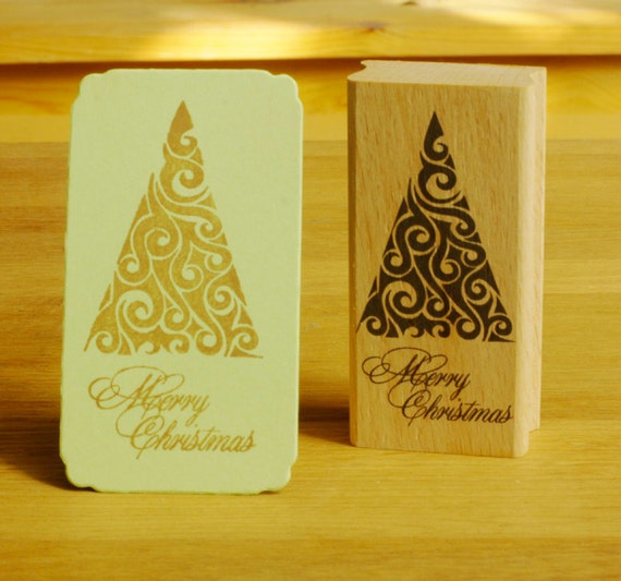 Christmas Tree rubber stamp-merry christmas stamp Card Making
