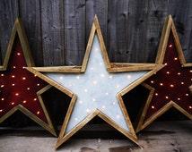 Barn Wood Star Light. Handmade Primitive startlight decoration.