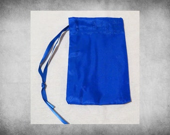 """Satin, Crystal - 4x6"""" Blue drawstring bag. Great for crafts, storage, and gift wrap! BAG-307"""