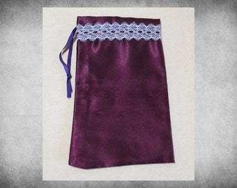 """BIG SALE Bridal Satin - 5x9"""" Plum Burgundy drawstring bag trimmed with lace. Great for crafts, storage, and holiday gift wrap! BAG-099"""