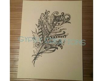 Feather Zentangle Doodle Art