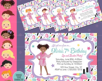 Slumber Party and Spa Party Invitation - Sleepover Makeover Spa Day Invitation - Slumber Party - Spa Birthday Party - Girl Birthday - Diva